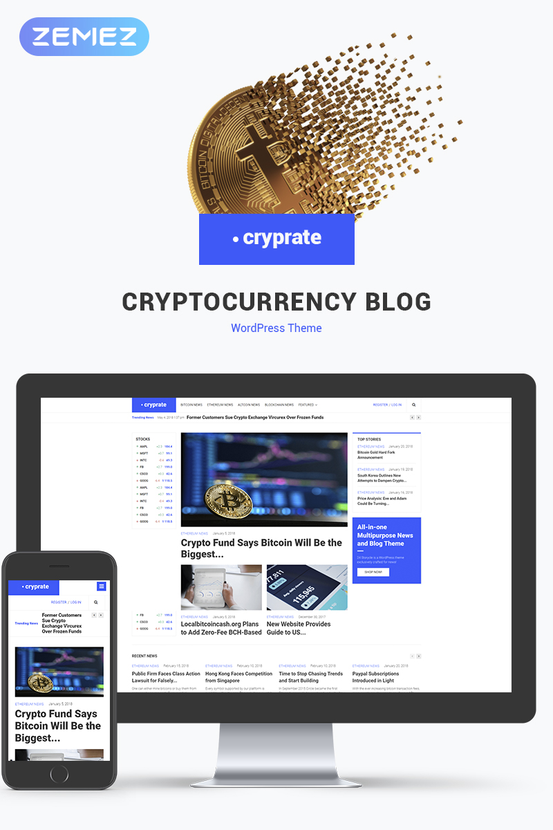 "Tema De WordPress ""Cryprate - Cryptocurrency Blog Elementor"" #70558"