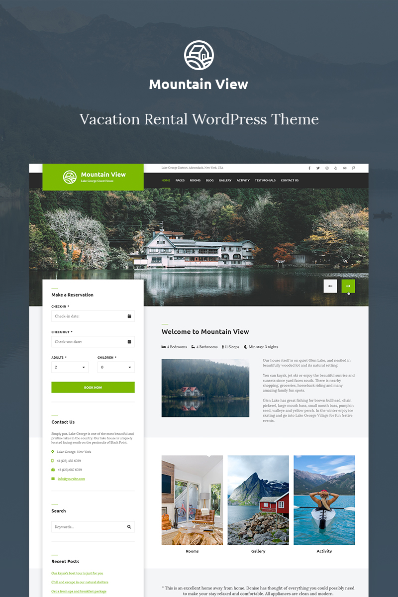 "Tema De WordPress ""Mountain View - Vacation Rental"" #70585"
