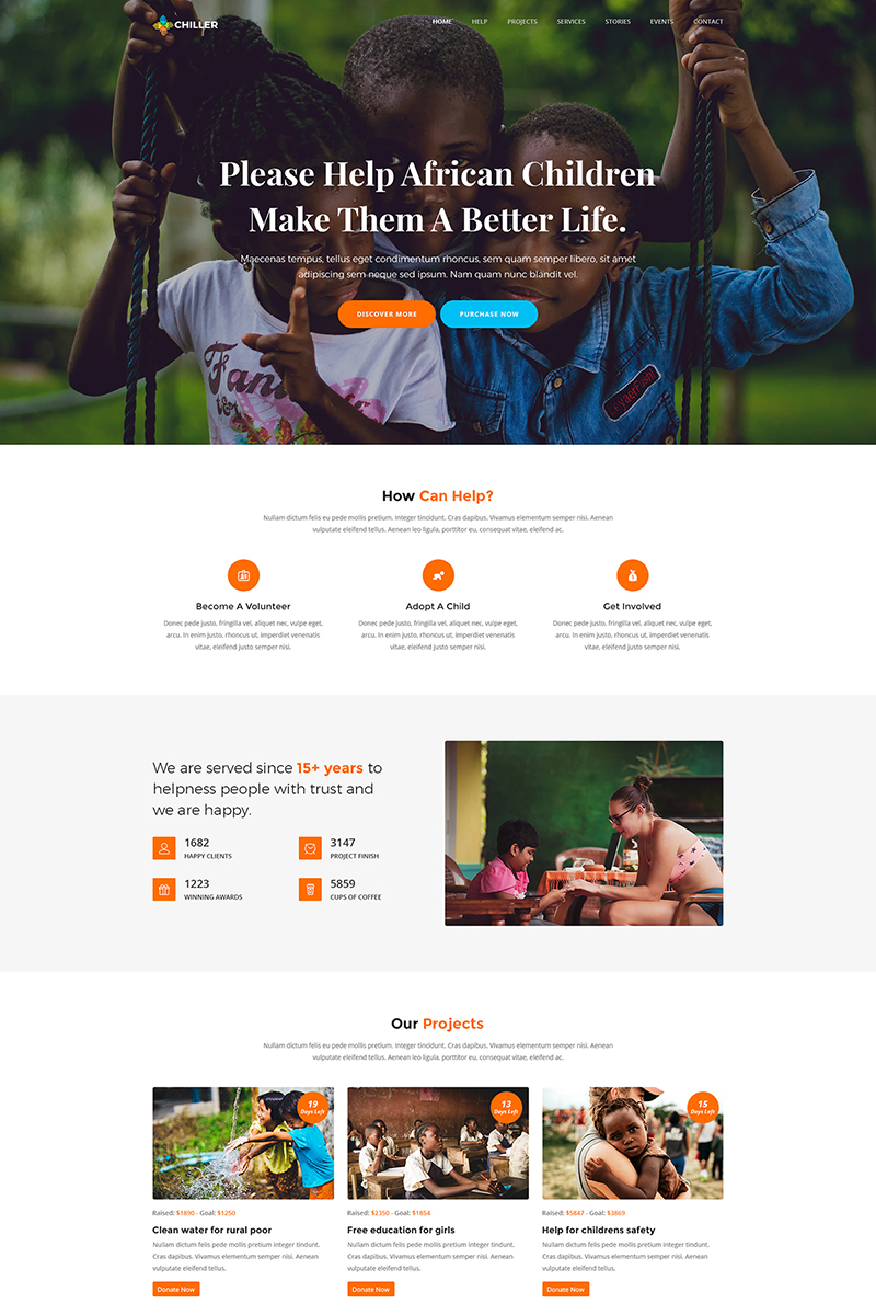 "Template WordPress Responsive #70582 ""Chiller - Charity/Fundraising"""