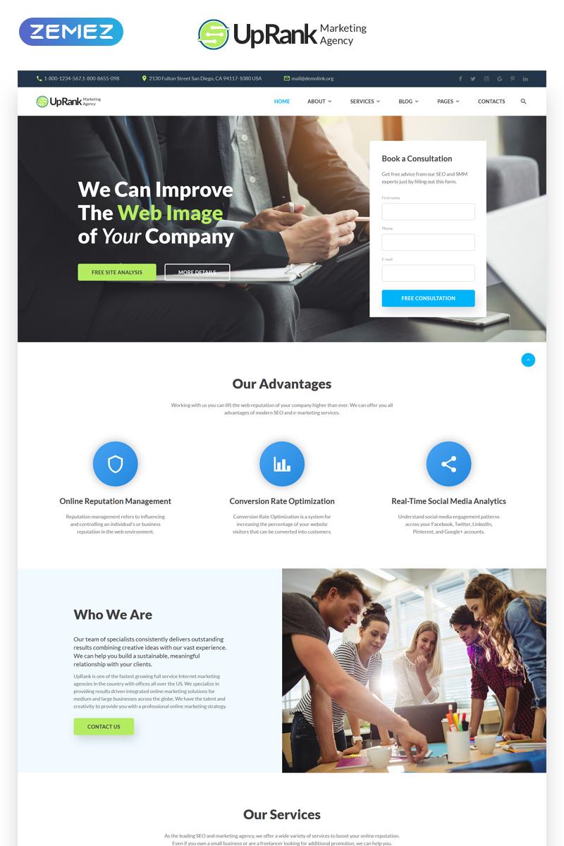 UpRank - Stylish Marketing Agency Multipage Website Template - screenshot