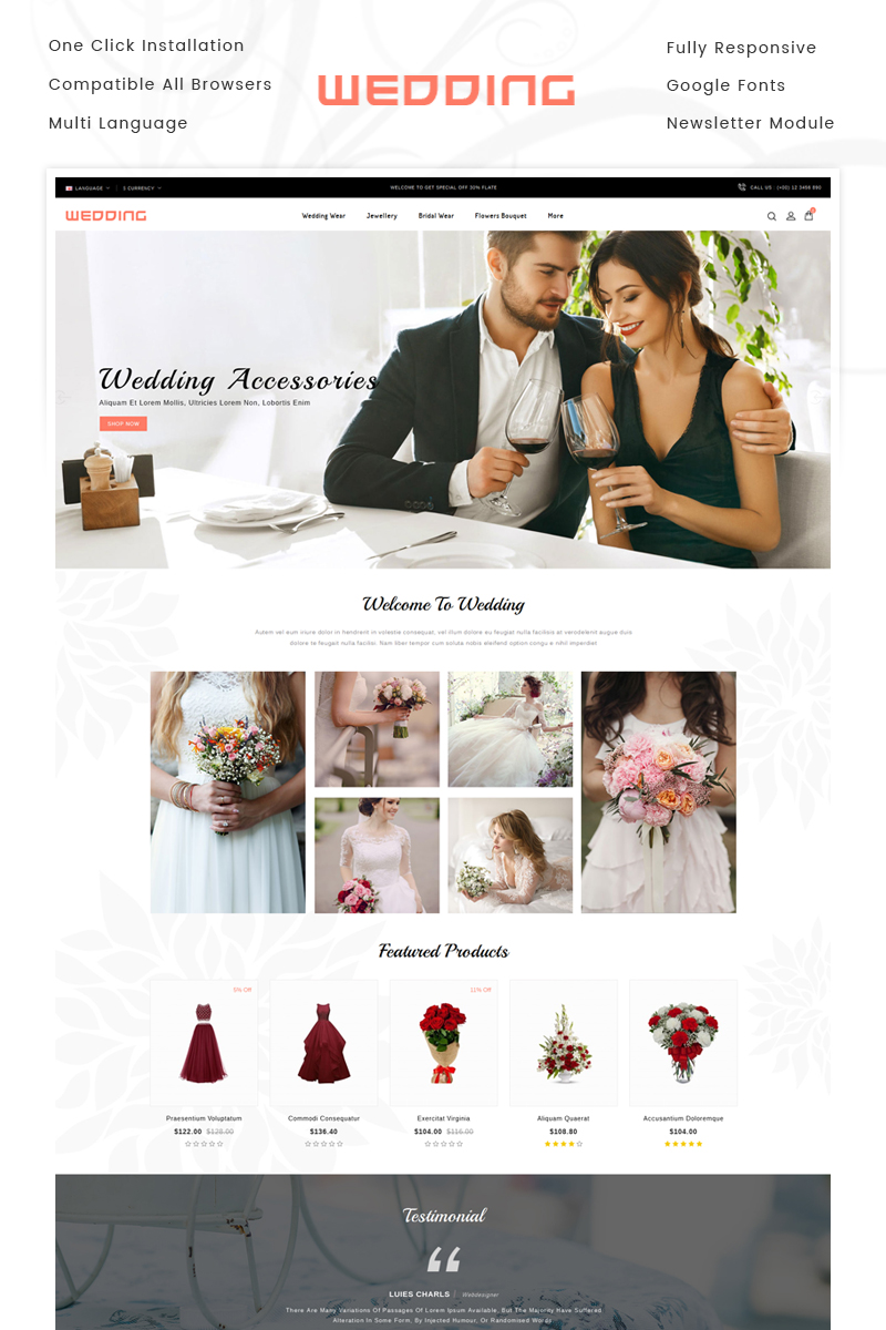 """Wedding Collection Store"" Responsive OpenCart Template №70574"