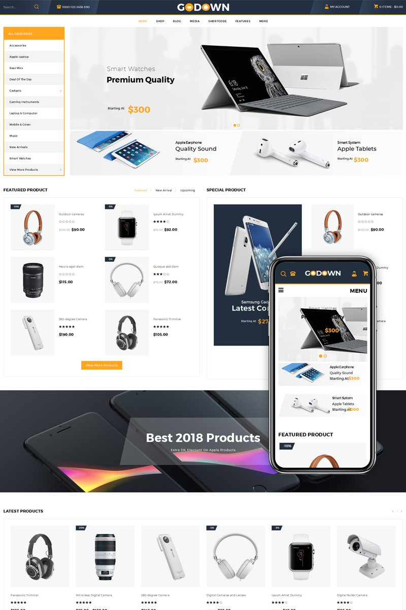 "WooCommerce Theme namens ""GoDown - Multi Purpose Store"" #70588 - Screenshot"