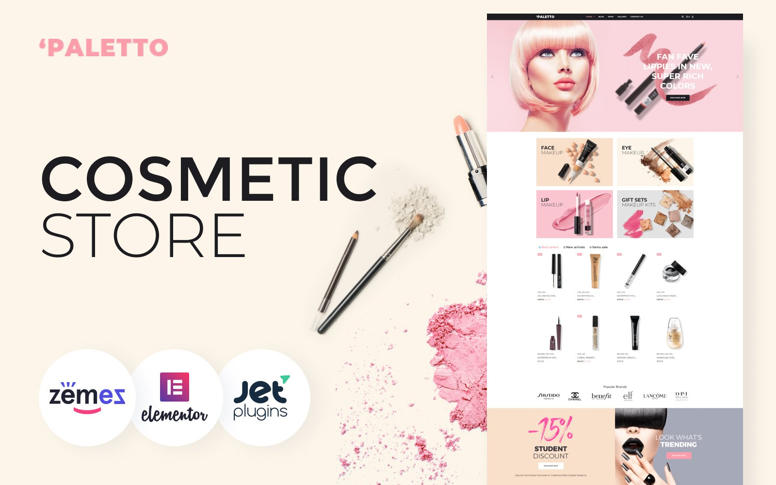 "WooCommerce Theme namens ""Paletto - Cosmetic Store Elementor"" #70583"