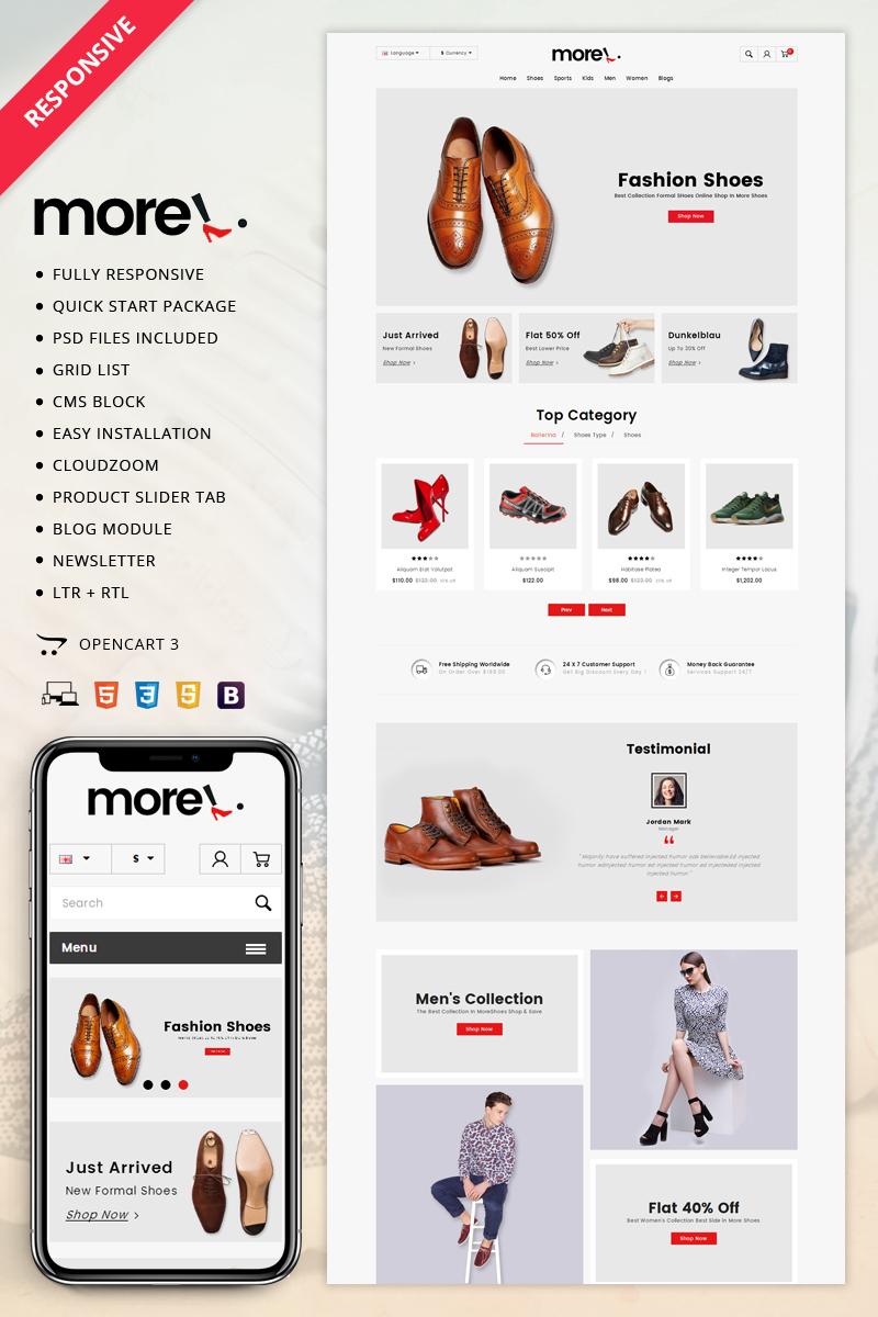 Website Design Template 70614 - moreshoes apparel fashion leather multipurpose opencart3 responsive service testimonial blog premium sampledata oneclickinstallation customizable html5 css3 cms seo