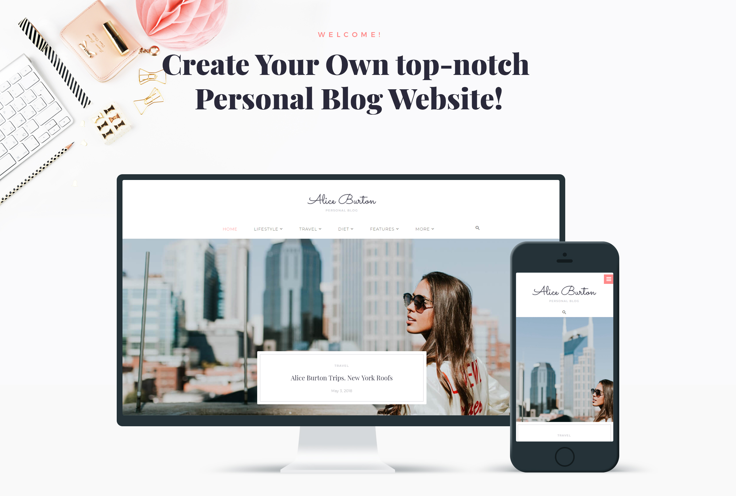 Website Design Template 70648 - travelling fashion style entertainment photo media online blogger lifestyle responsive gallery comments social seo crossbrowser html premium