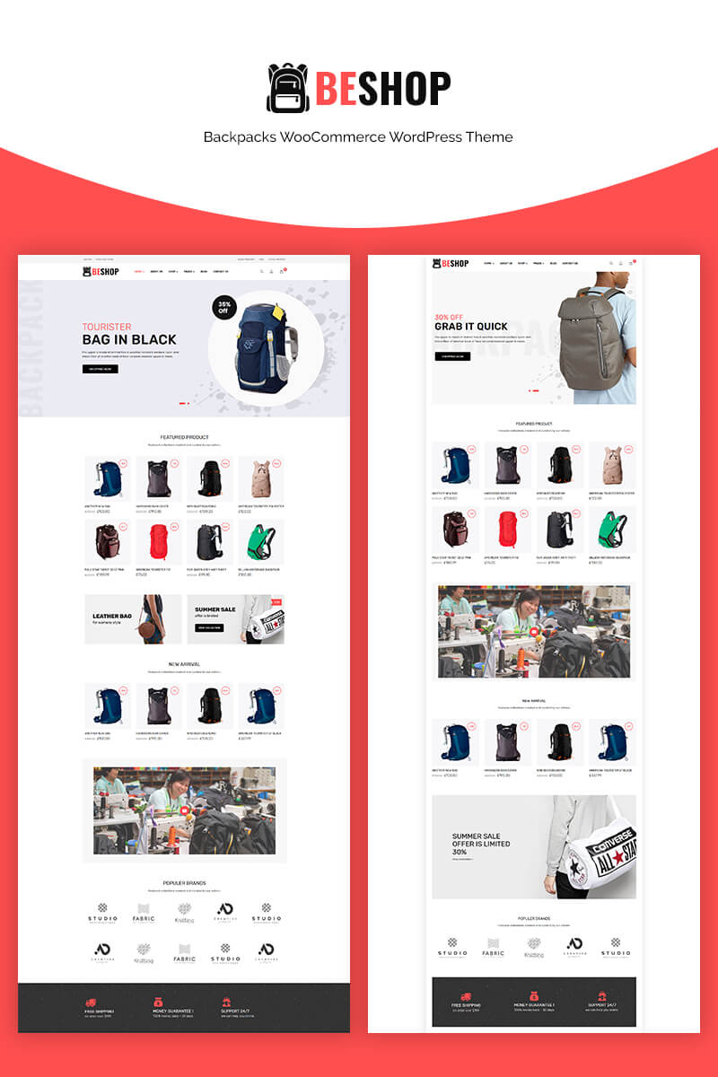 Website Design Template 70664 - bag store clean ecommerce fashion filter ajax page builder redux framework seo optimized shopping strore swatches trend