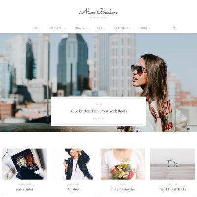 AliceBurton - Personal Blog Elementor WordPress Theme #70648