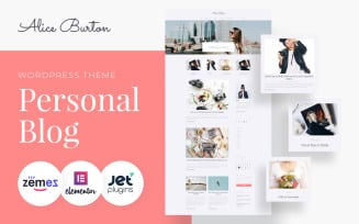 AliceBurton - Personal Blog WordPress Elementor Theme