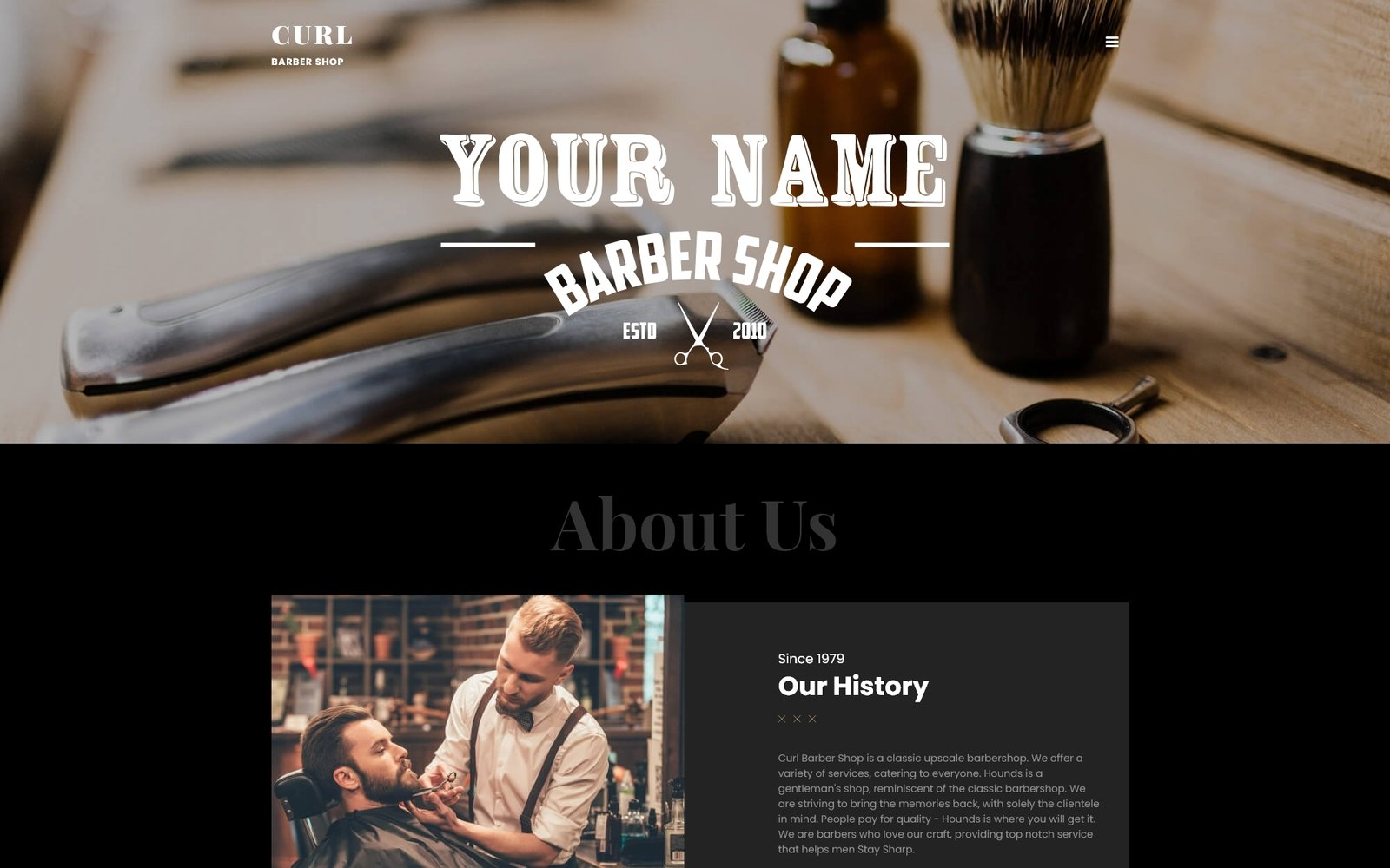 """Curl - Stylish Barber Shop"" thème Joomla adaptatif #70601"