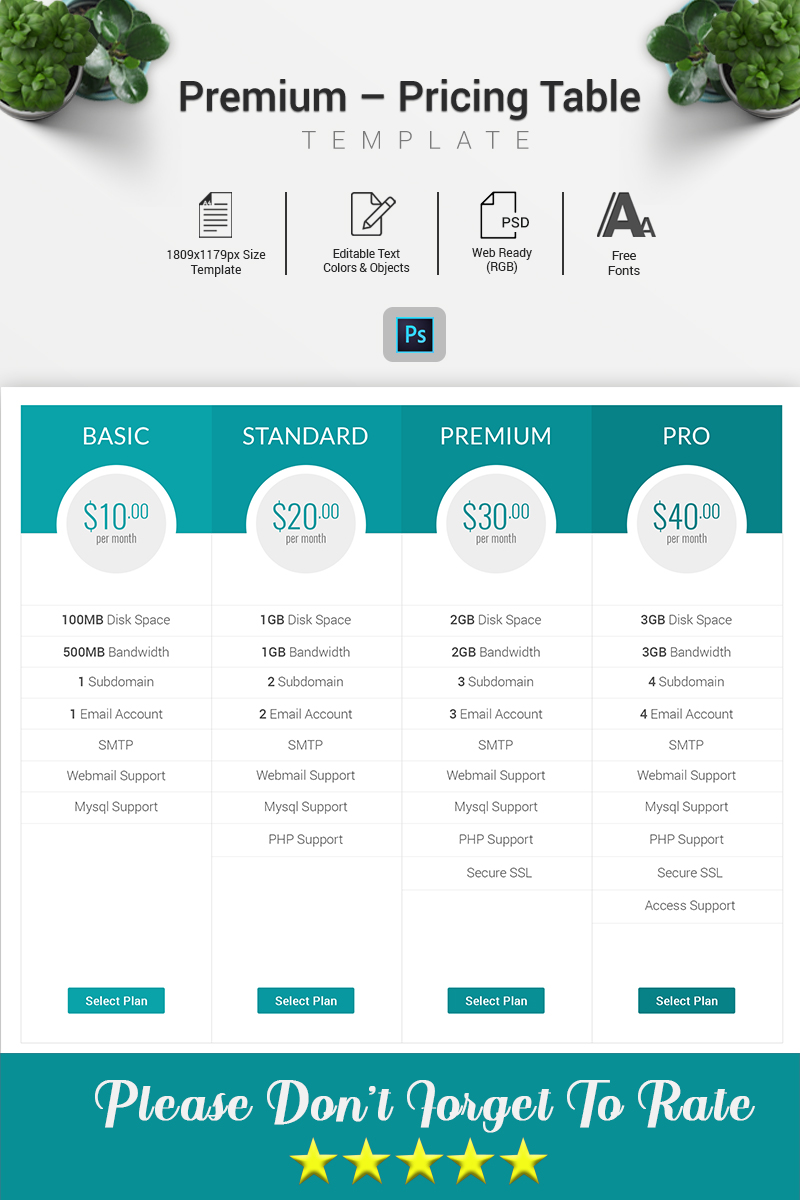 """Domain - Pricing Table"" Premium Infographic Elements №70612"