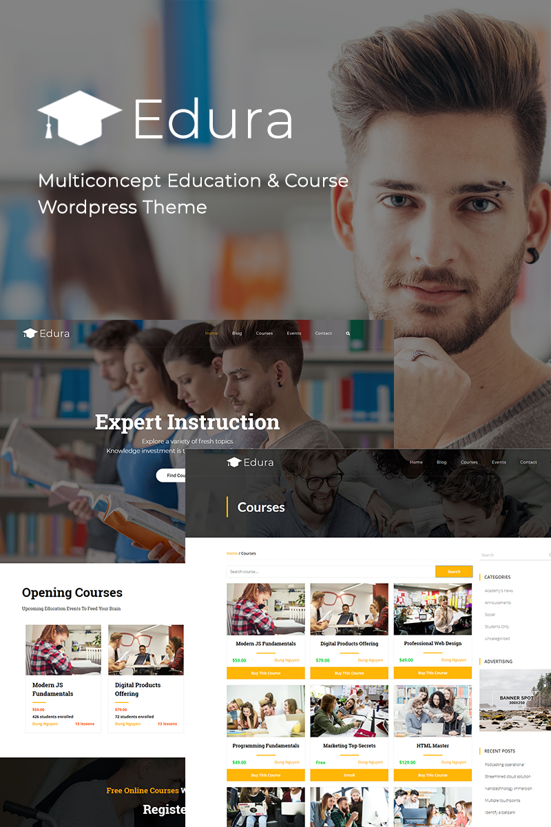 """Edura - LearnPress Education"" - адаптивний WordPress шаблон №70628"