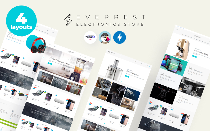 """Eveprest Electronics 1.7 - Electronics Store"" - адаптивний PrestaShop шаблон №70643"