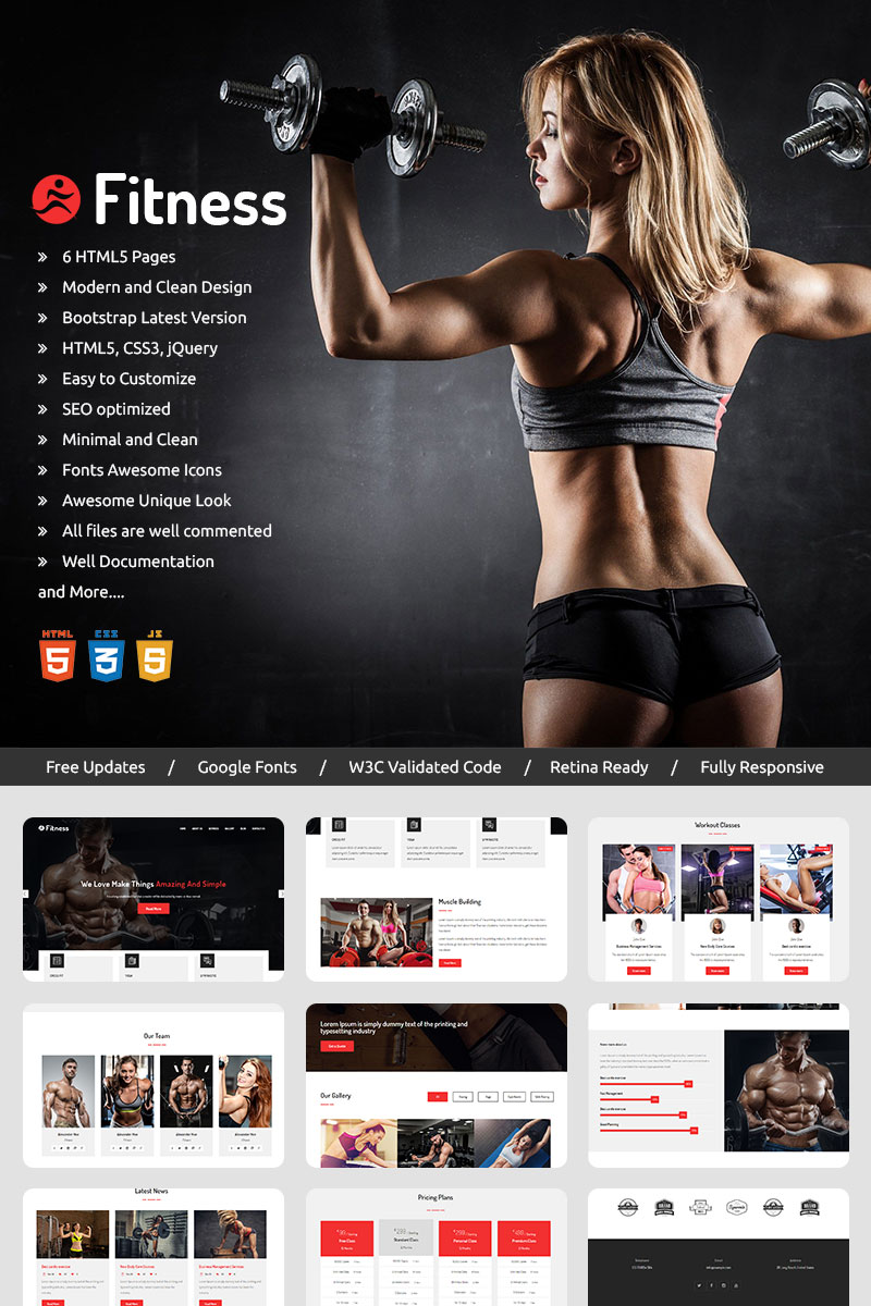 Fitness -  Parallax Landing Page Template - screenshot