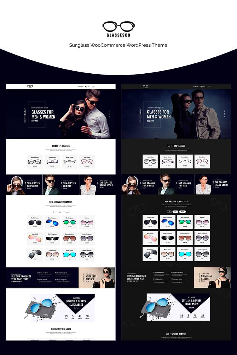 """Glassesco - Sunglass"" - адаптивний WooCommerce шаблон №70662"