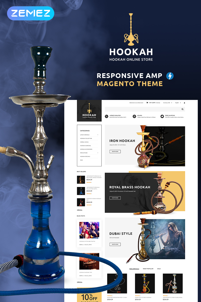 """Hookah - Hookah Bar"" 响应式Magento模板 #70673"