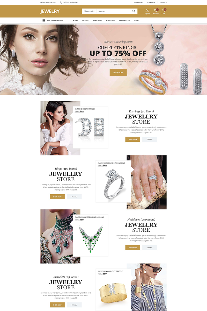 """Jewellry"" WooCommerce Thema №70655"