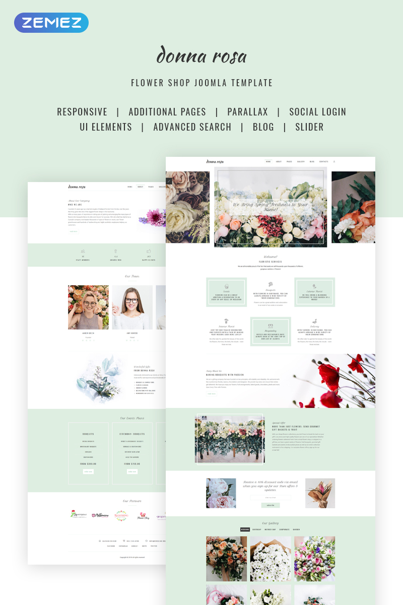 "Joomla Vorlage namens ""Donna Rosa - Sophisticated Florist Agency"" #70690"