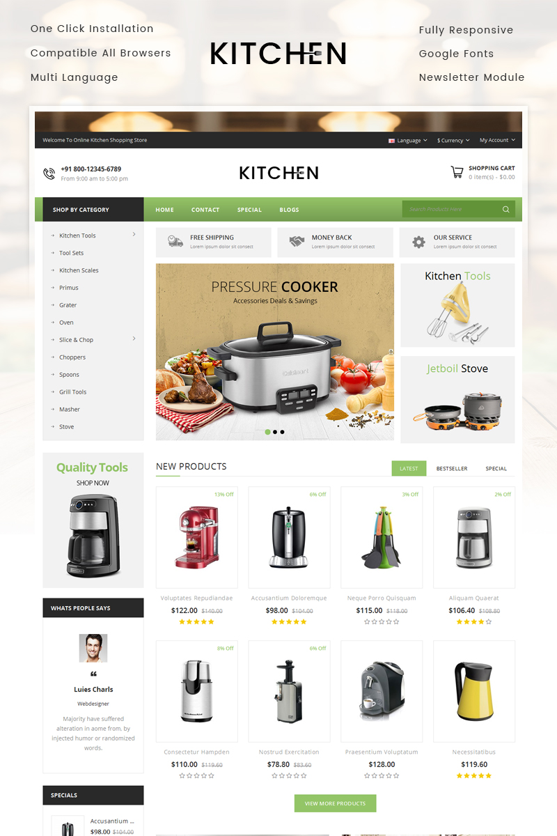 Kitchen Store OpenCart Template