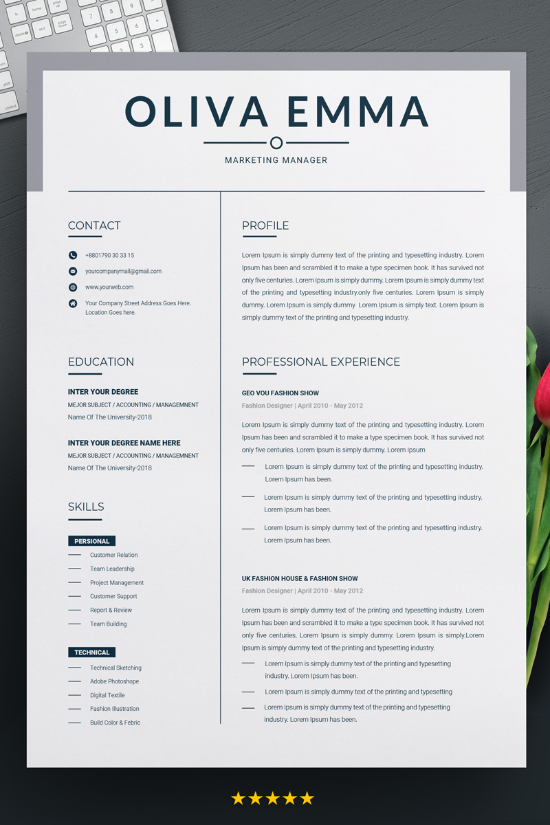 marketing manager resume template 70621