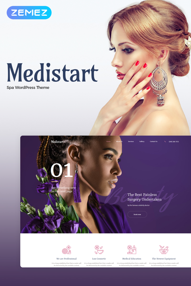 """Medistart - Spa Salon"" 响应式WordPress模板 #70695"