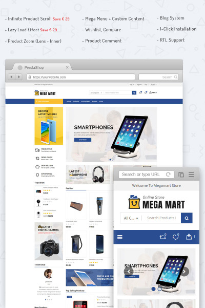 Megamart Digital Store PrestaShop Theme #70692