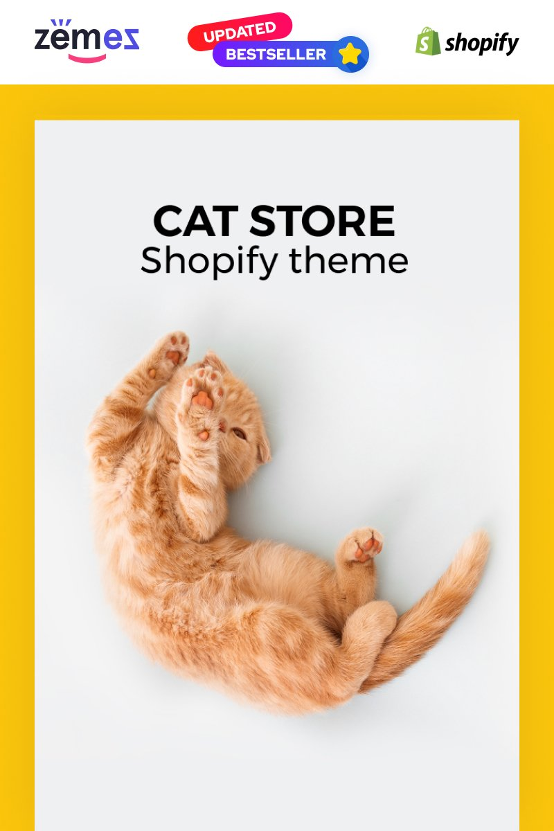 """Meoow - Cute Cat Shop"" - адаптивний Shopify шаблон №70611"