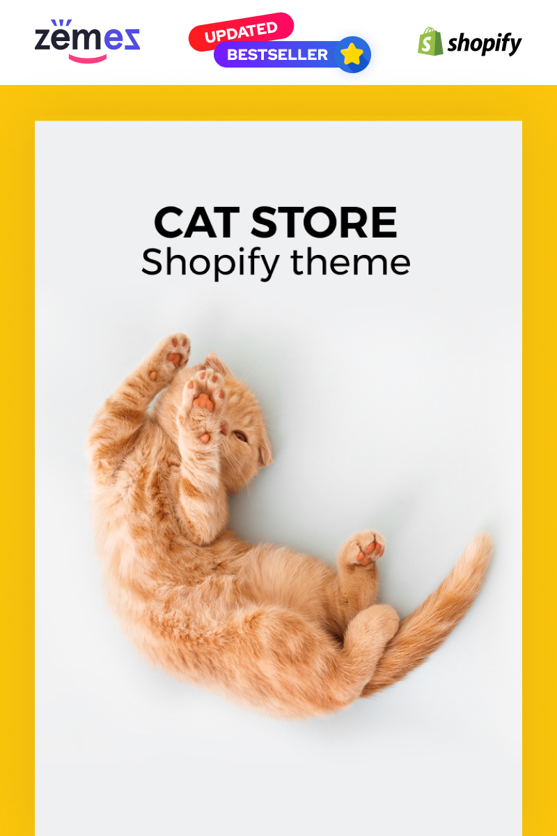 """Meoow - Cute Pet Shop"" - адаптивний Shopify шаблон №70611"