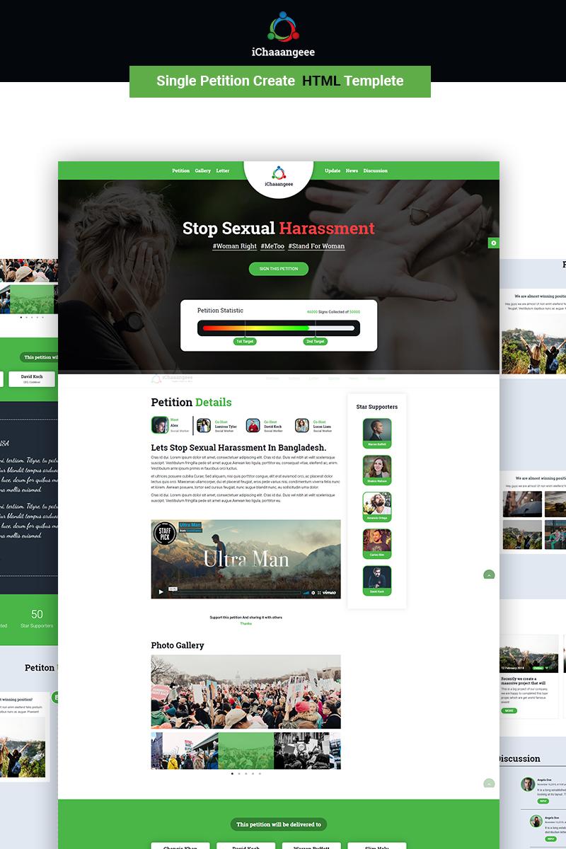 """Modello di Landing Page Responsive #70619 """"iChaaangeee Petition -"""""""