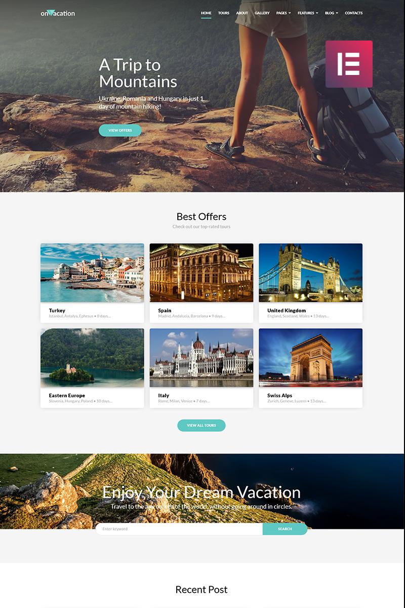 "Modello WordPress Responsive #70616 ""OnVacation - Travel Company Elementor"""