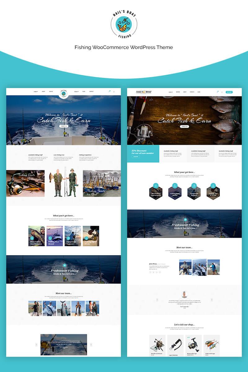 """""""Nailsboat - Fishing"""" - адаптивний WooCommerce шаблон №70667"""