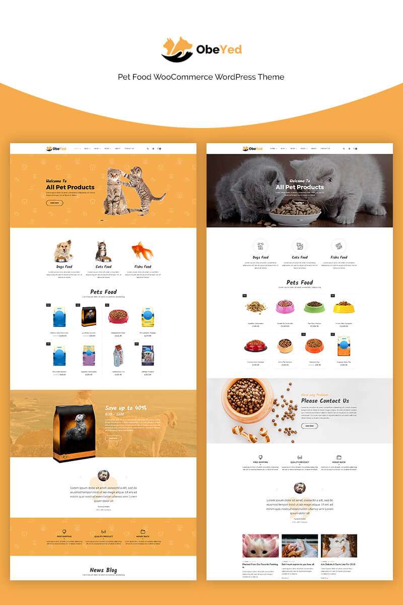 """Obeyed - Pet Food"" - адаптивний WooCommerce шаблон №70668"