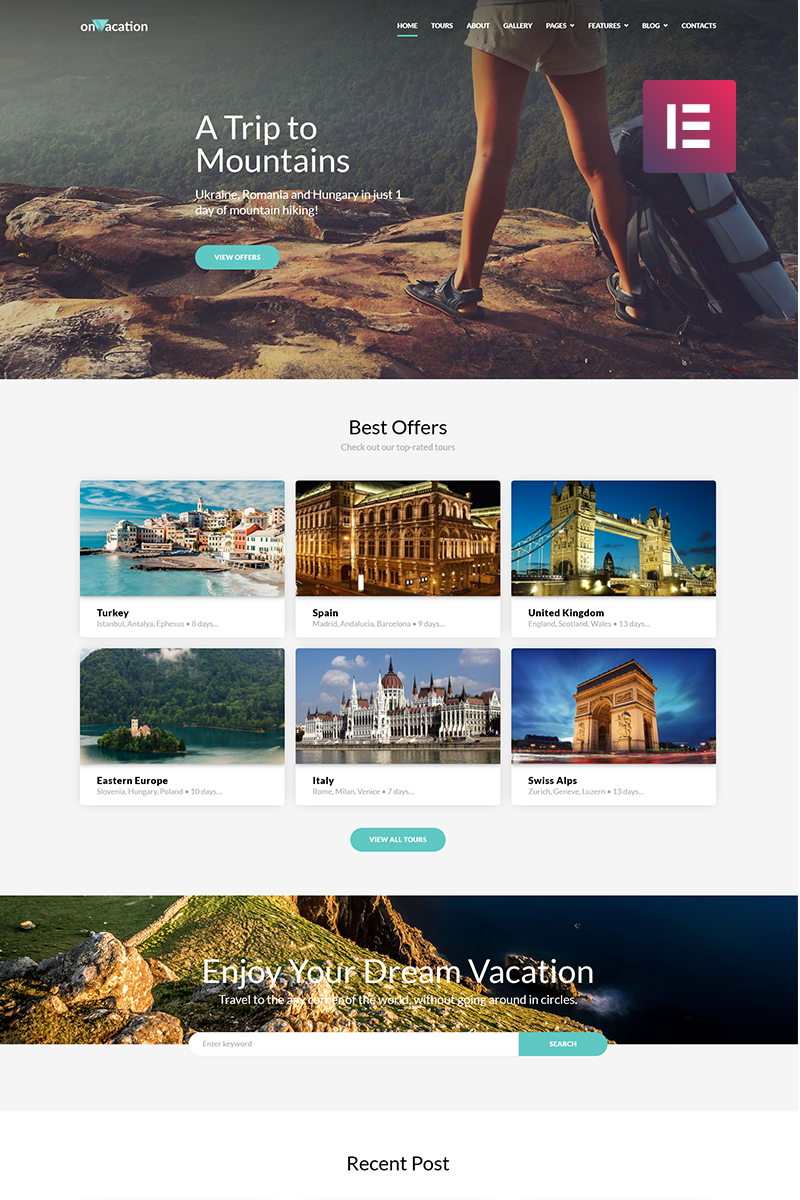 """OnVacation - Travel Company Elementor"" - адаптивний WordPress шаблон №70616"
