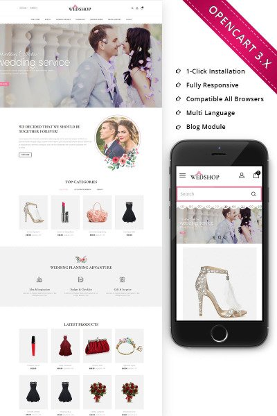 Responsive OpenCart Vorlage für Mode-Blog