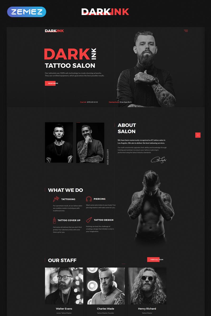 "Plantilla Web ""DarkInk - Tattoo Salon Multipage HTML5"" #70625"
