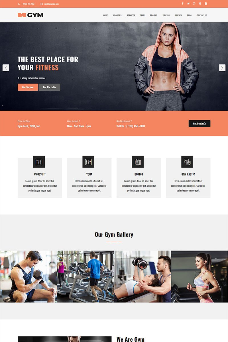 Responsivt Gym - Parallax Landing Page-mall #70610