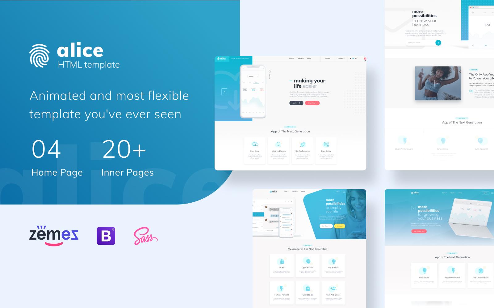 Reszponzív Alice - Application Multipurpose HTML5 Weboldal sablon 70682