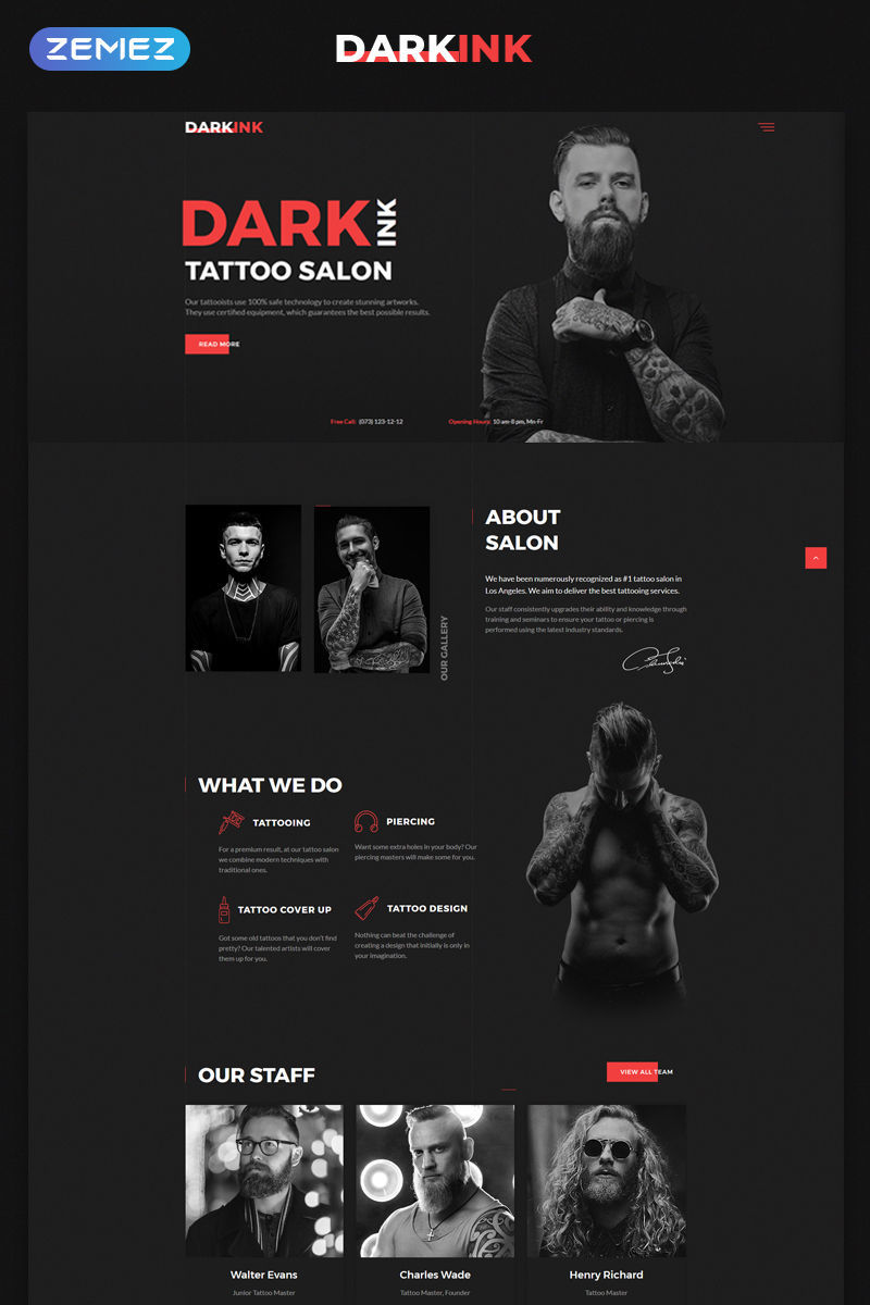 Reszponzív DarkInk - Tattoo Salon Multipage HTML5 Weboldal sablon 70625