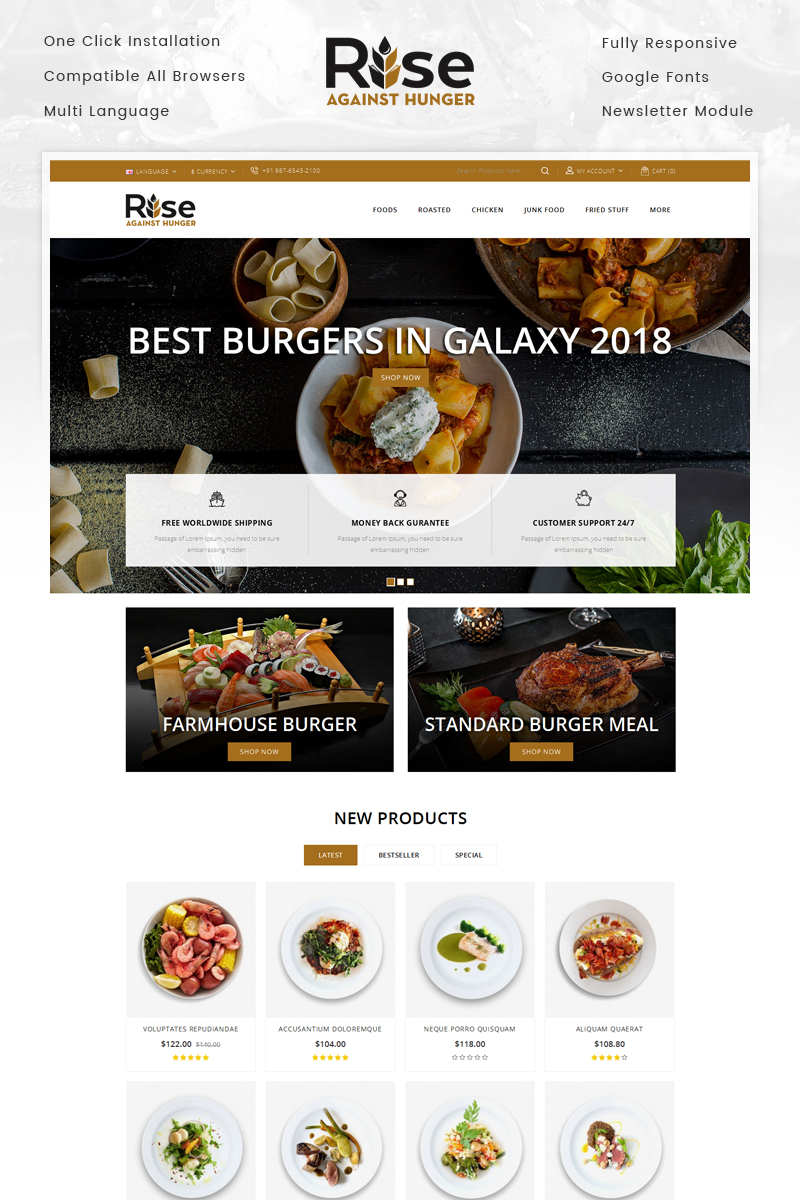 RISE - Food Store Template OpenCart №70686