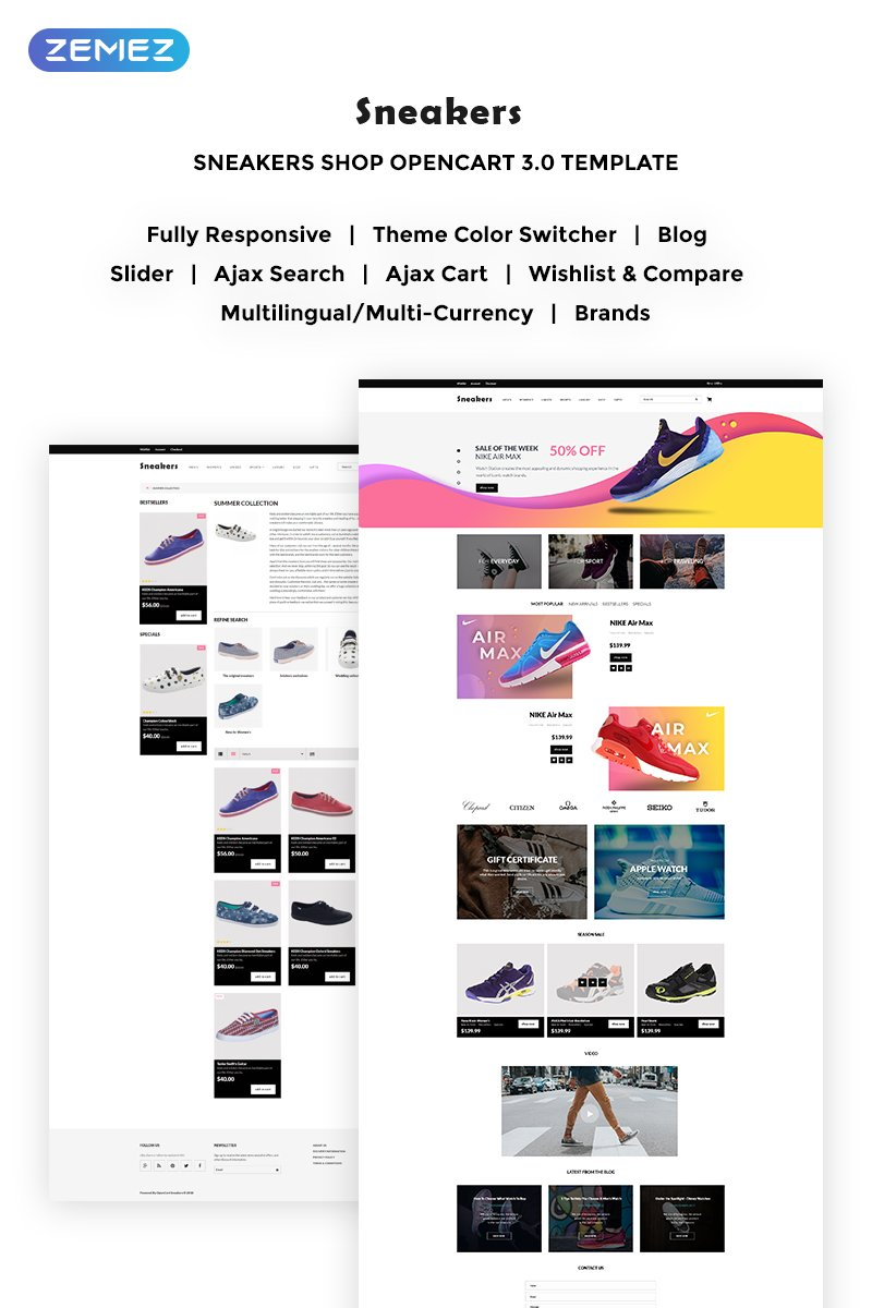 """Sneakers Store"" Responsive OpenCart Template №70640"
