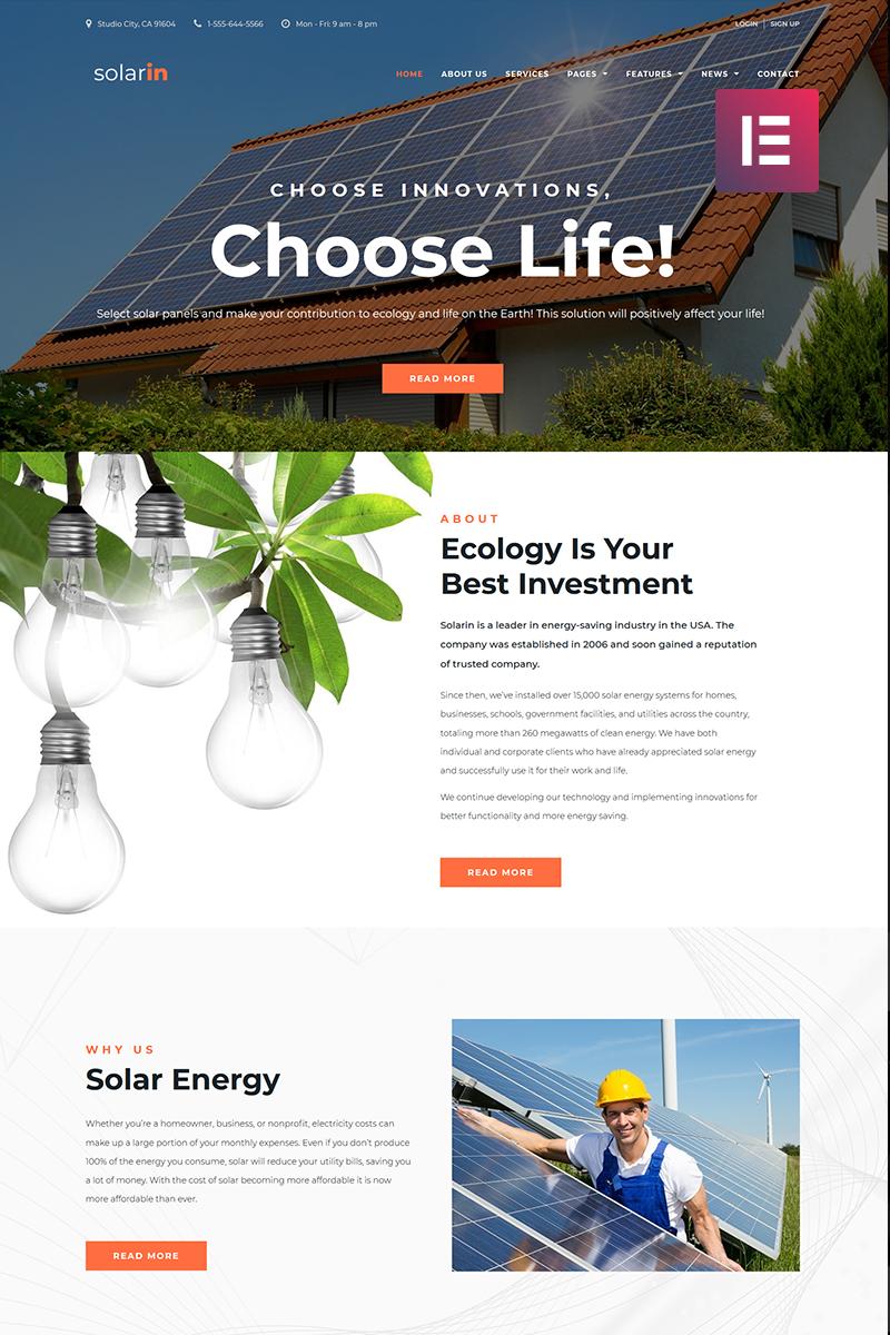 """Solarin - Solar Energy Company Elementor"" - адаптивний WordPress шаблон №70681"