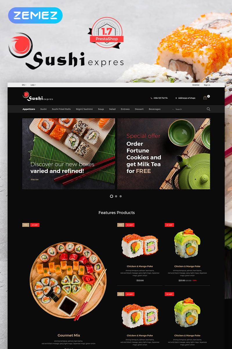 """""""SushiExpress - Restaurant Store"""" Responsive PrestaShop Thema №70691"""