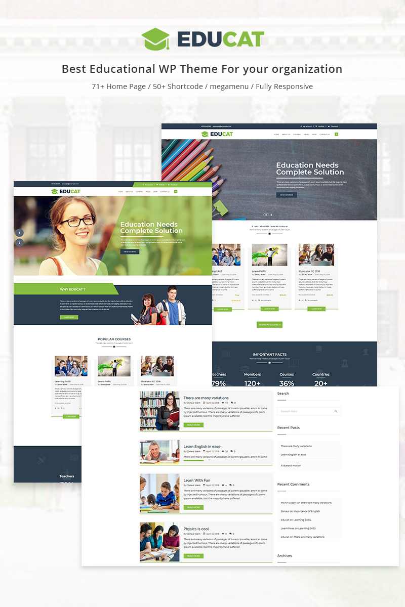 "Tema WordPress Responsive #70629 ""Educat - Education"""