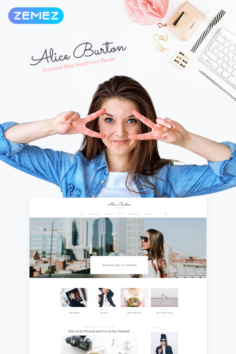 "Template WordPress Responsive #70648 ""AliceBurton - Personal Blog Elementor"""