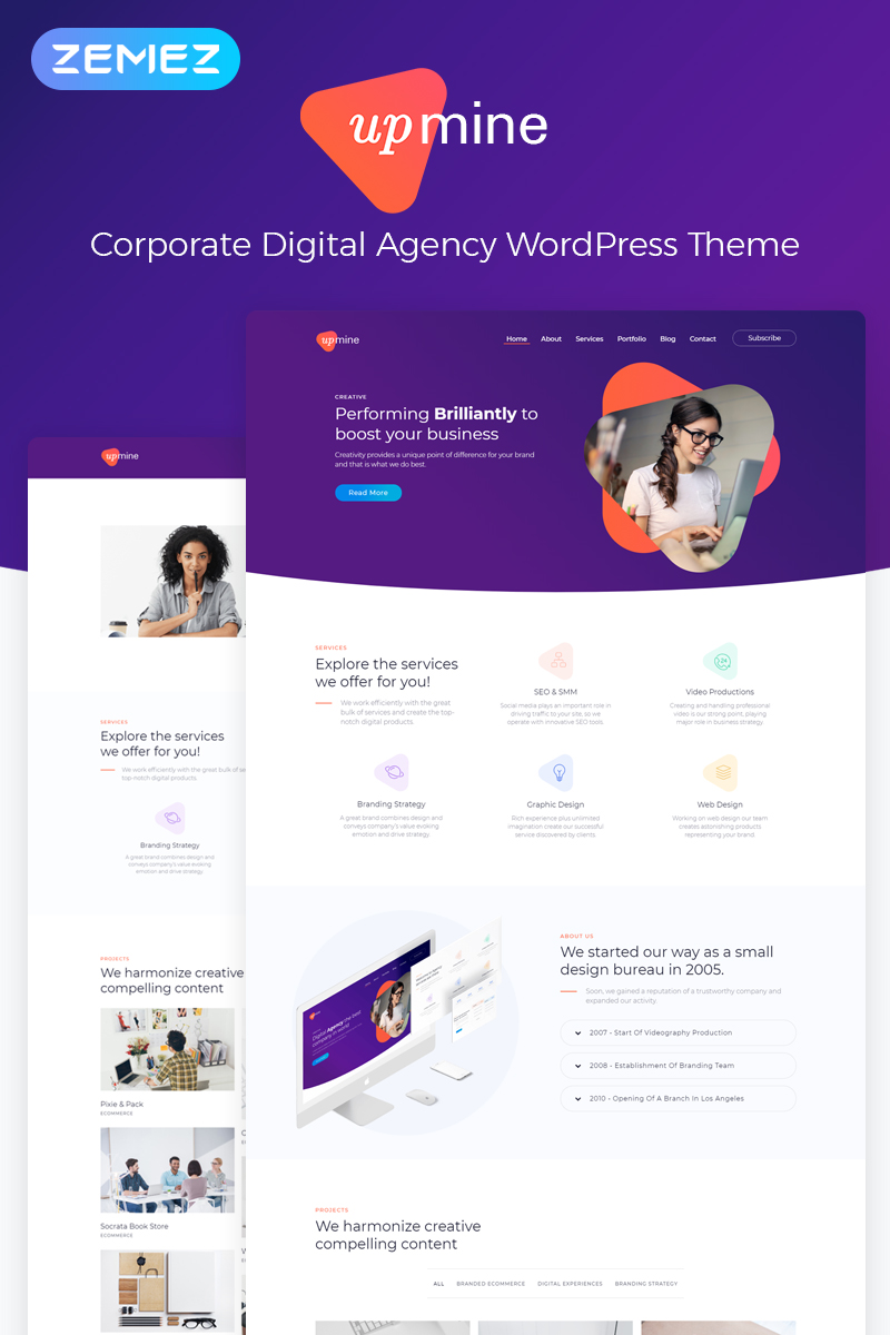 Upmine - Corporate Digital Agency Elementor WordPress Theme - screenshot