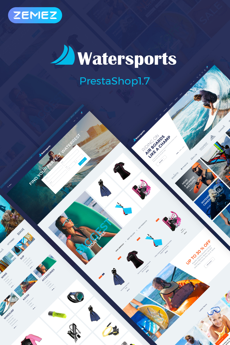 Watersports - Diving Store Tema PrestaShop №70624