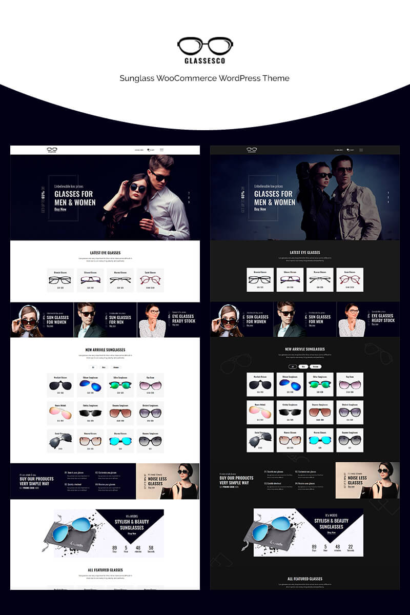 "WooCommerce Theme namens ""Glassesco - Sunglass"" #70662"