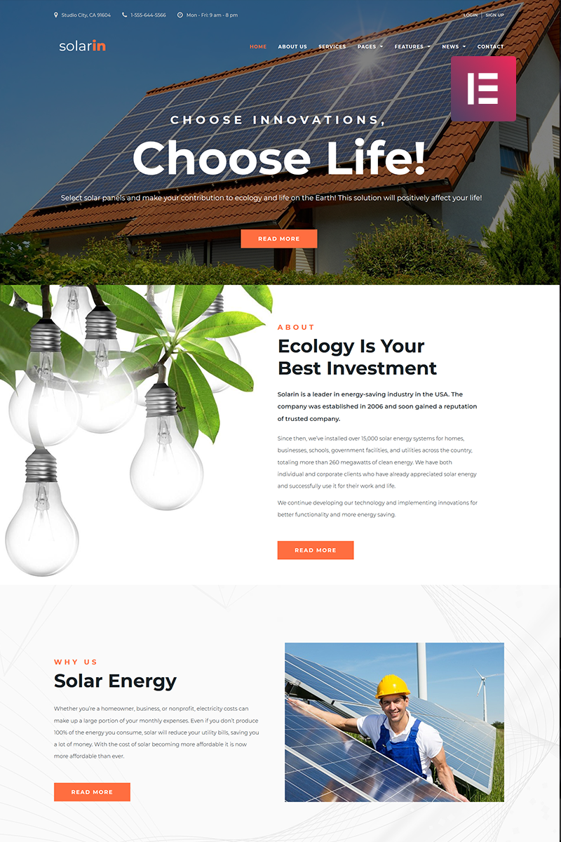 "WordPress Theme namens ""Solarin - Solar Energy Company Elementor"" #70681"