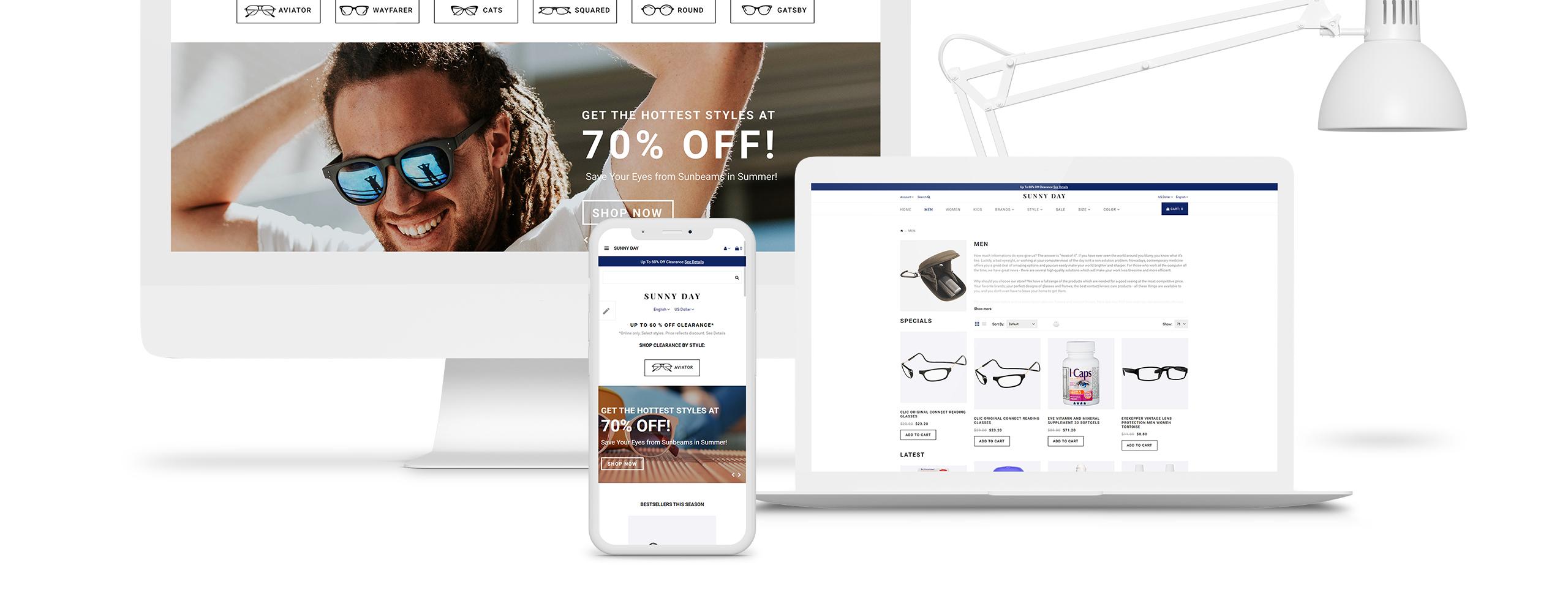 Website Design Template 70709 - cosmetics beauty drug store sunglasses eyeglasses optic optical jewelry electronics gifts online shopping clothing fashion