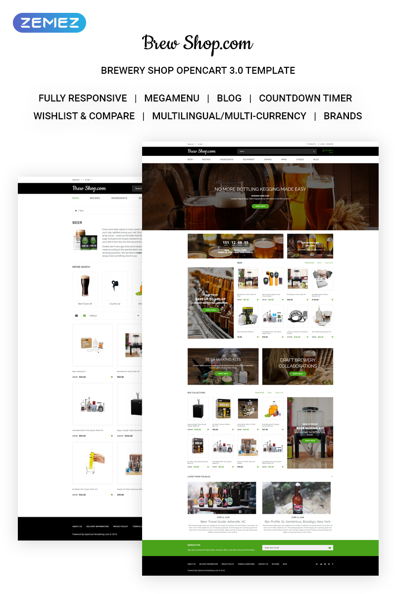 Brew Shop.com - Efficient Alcohol Online Shop OpenCart Template