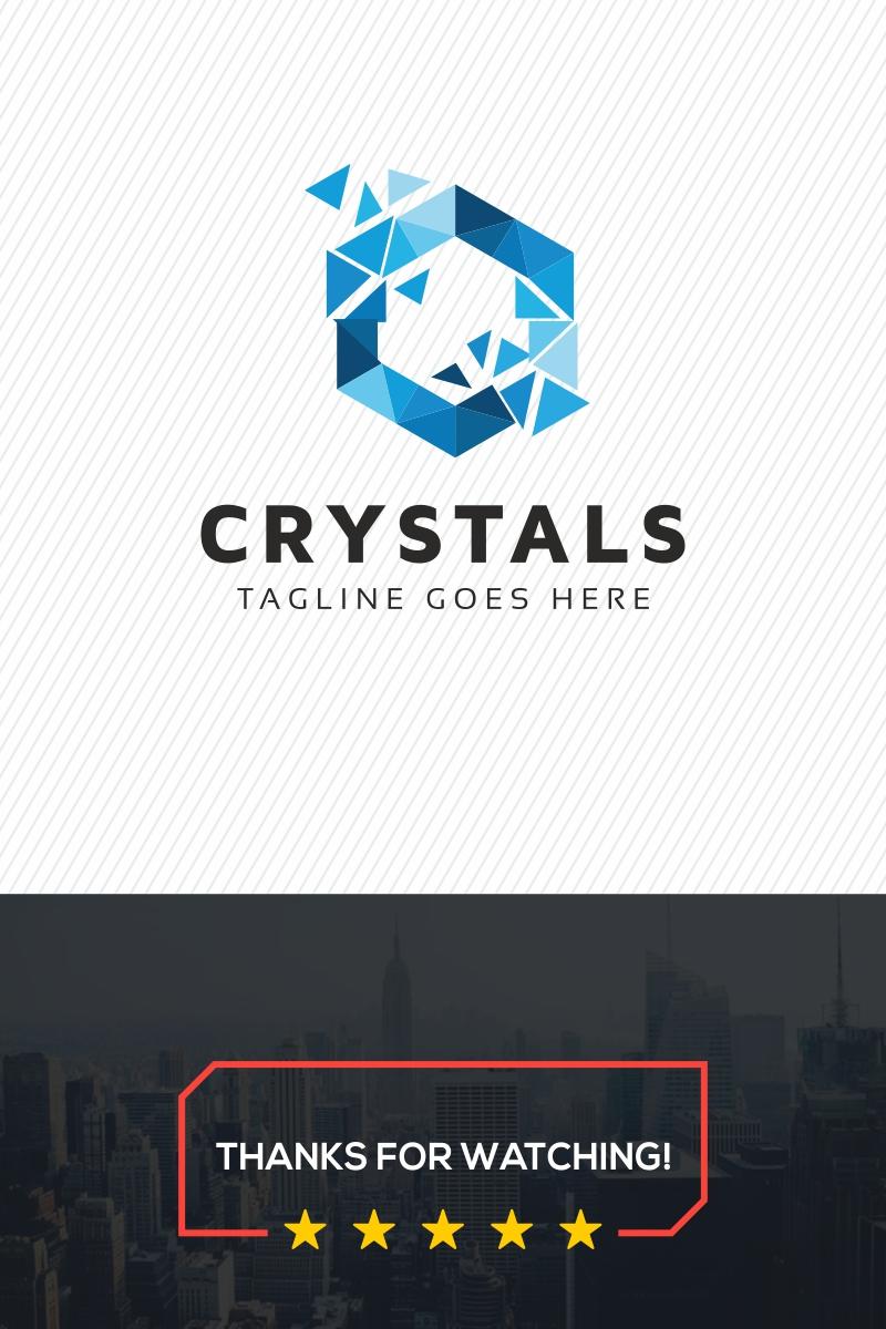 Crystals Hexagon Polygonal Logo Template